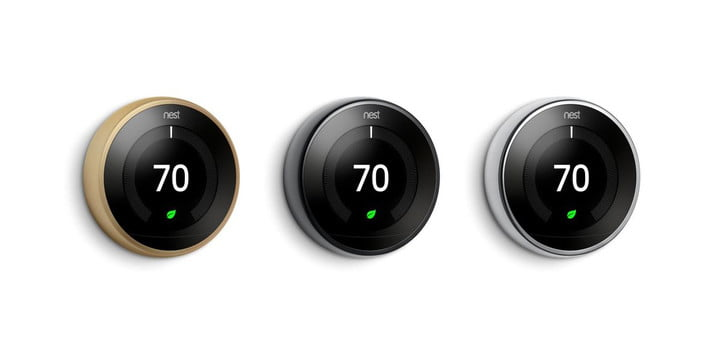 nest learning thermostat three new colors mirror blac brass polished steel 1