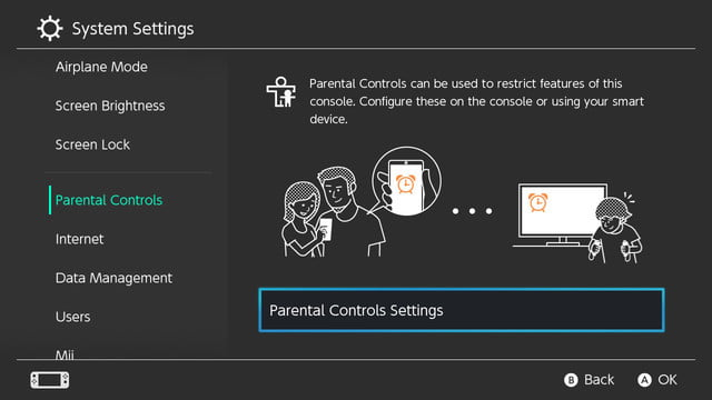 how to set parental controls on the nintendo switch control settings