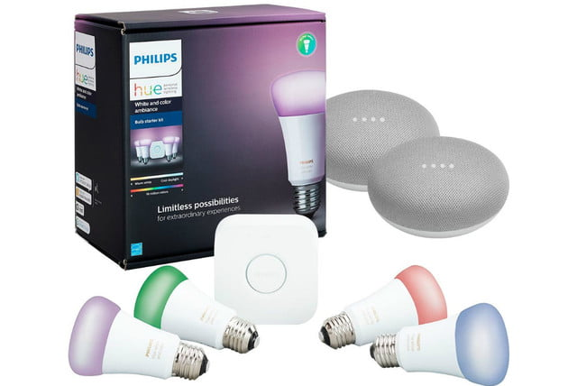 best buy deal philips hue starter kit with 2 google home minis  white and color ambiance multicolor a19 led mini pack 750x500