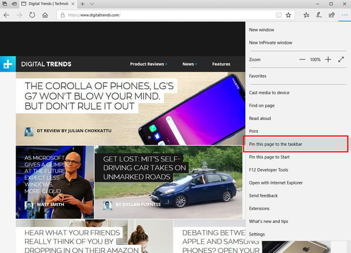 how to pin a website the taskbar pintaskbar04