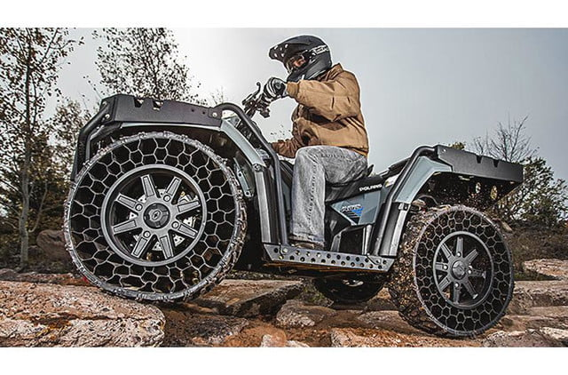 polaris new airless tire can withstand a 50 caliber bullet sportsman wv850 ho 1