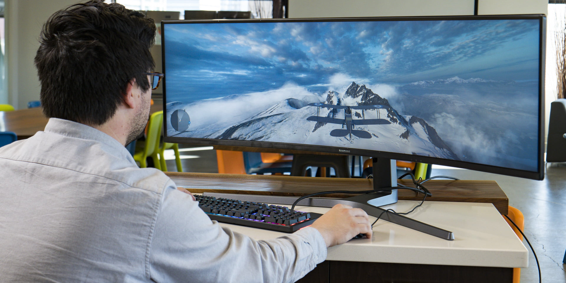 Spanning 49 inches, this gaming monitor is the next best thing to VR