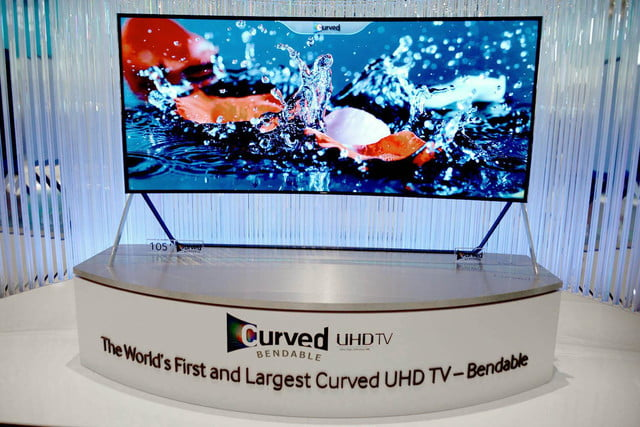 samsungs massive bending 4k tv flexes flat curved right front face samsung 21