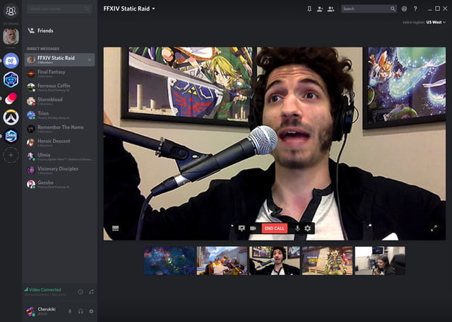 Discord screencaster talking in front of the webcam while is a group video chat with friends