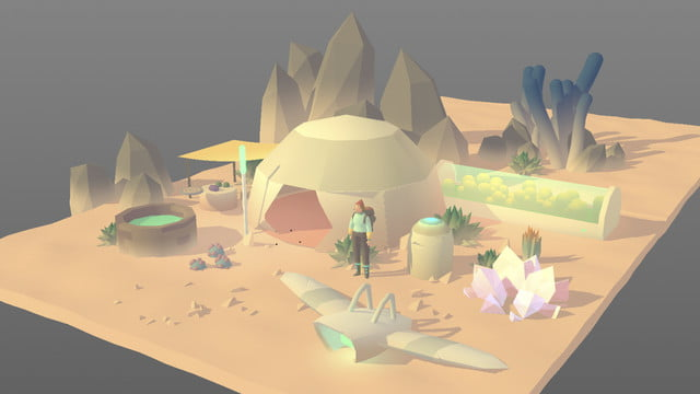 Seed Concept Art featuring 3D render of desert dwelling with villager