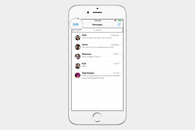 select messages to delete ios 10