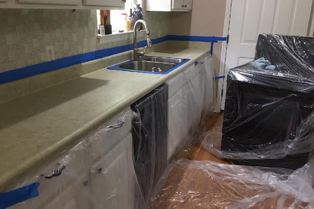 Faux Granite Countertops Set Up For Counters