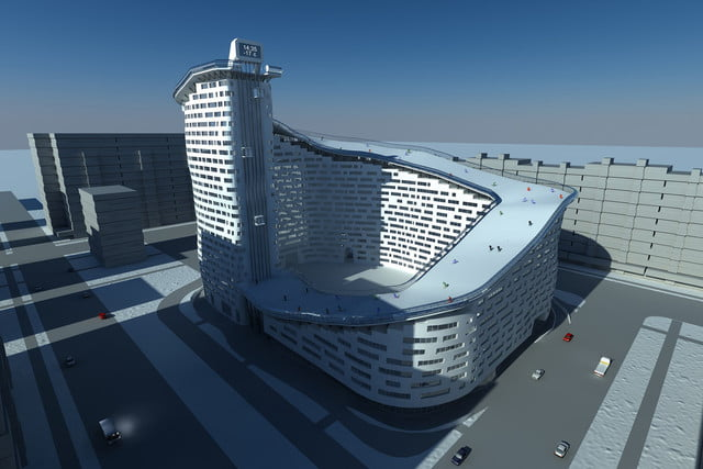 house slalom is an apartment building with a ski slope concept shokhan mataibekov 002