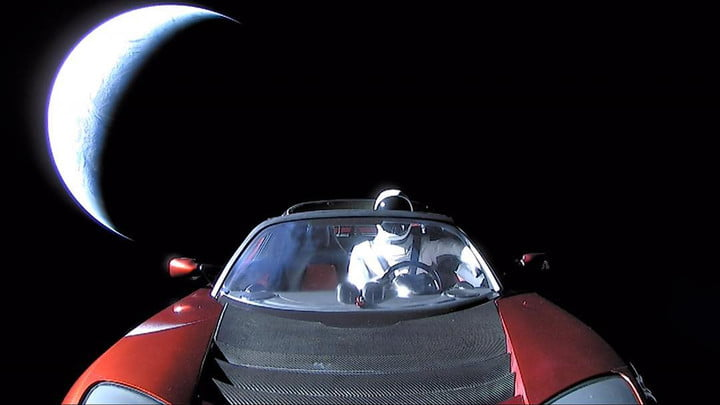 Here's the 'last pic' of Starman as he motors off into outer space