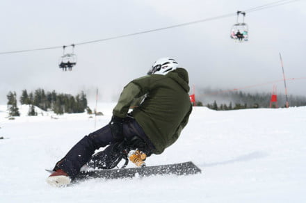 Swaky is the easy attachment that lets you ride a snowboard like a snow bike
