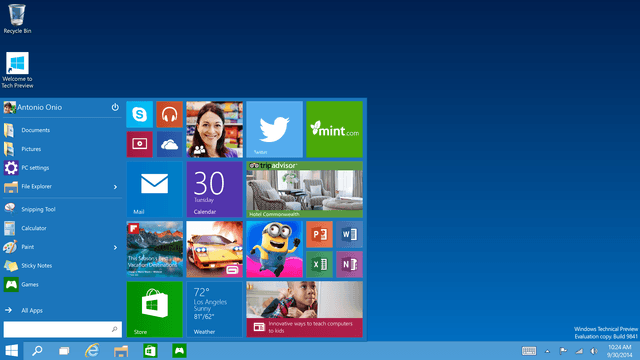 Windows 10: Start menu