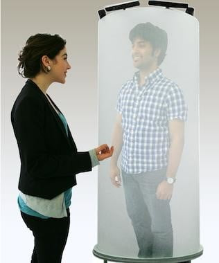 The TeleHuman is a life-size, 3D video chat pod straight out of your