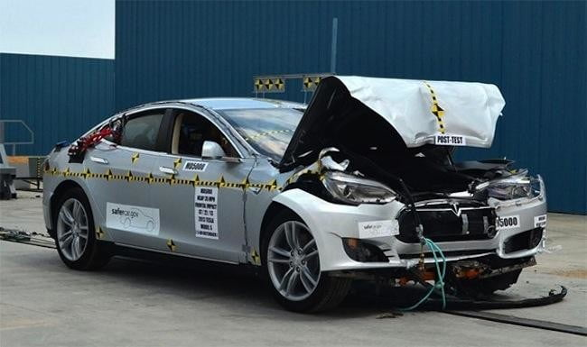Tesla Model S breaks testing machine, is now the safest car ever crash-tested by NHTSA