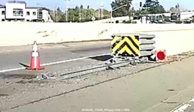 Highway divider crash attenuator March 22, the day before the accident