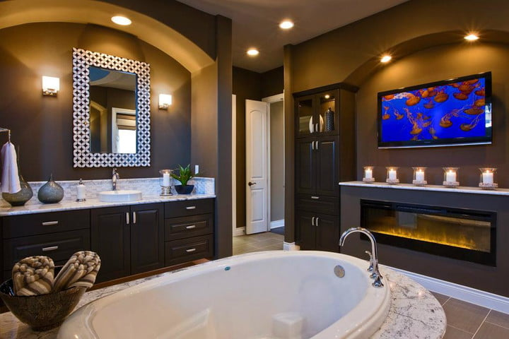 bathroom tv. houzz survey finds bigger showers and more bathroom renovation trends tv in Houzz Survey s Biggest Bathroom Renovation Trends  Digital