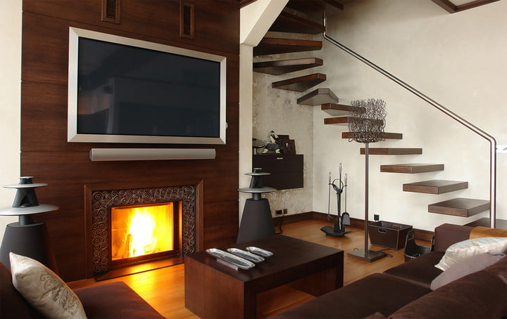 linear fireplace with tv above. Black Bedroom Furniture Sets. Home Design Ideas