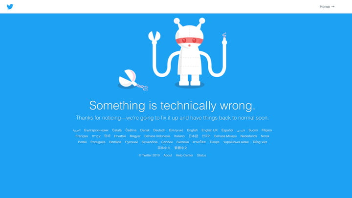 The current error message showing that Twitter is down