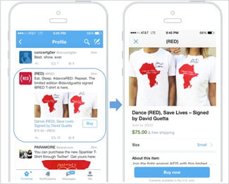 Twitter's'buy' button featured on a product page
