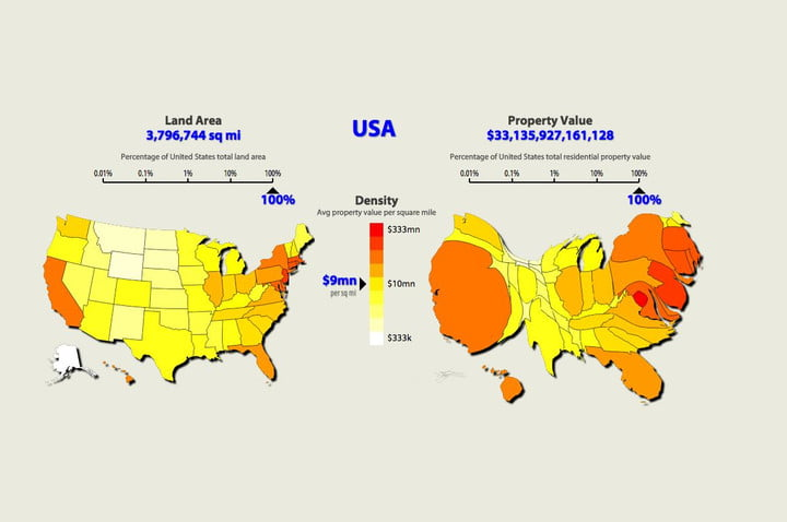 Property Value Map The U.S. Mapped by Property Values Versus Land Area | Digital Trends Property Value Map