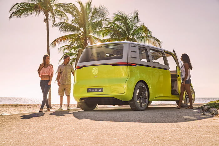 vw electric car buzz beach back