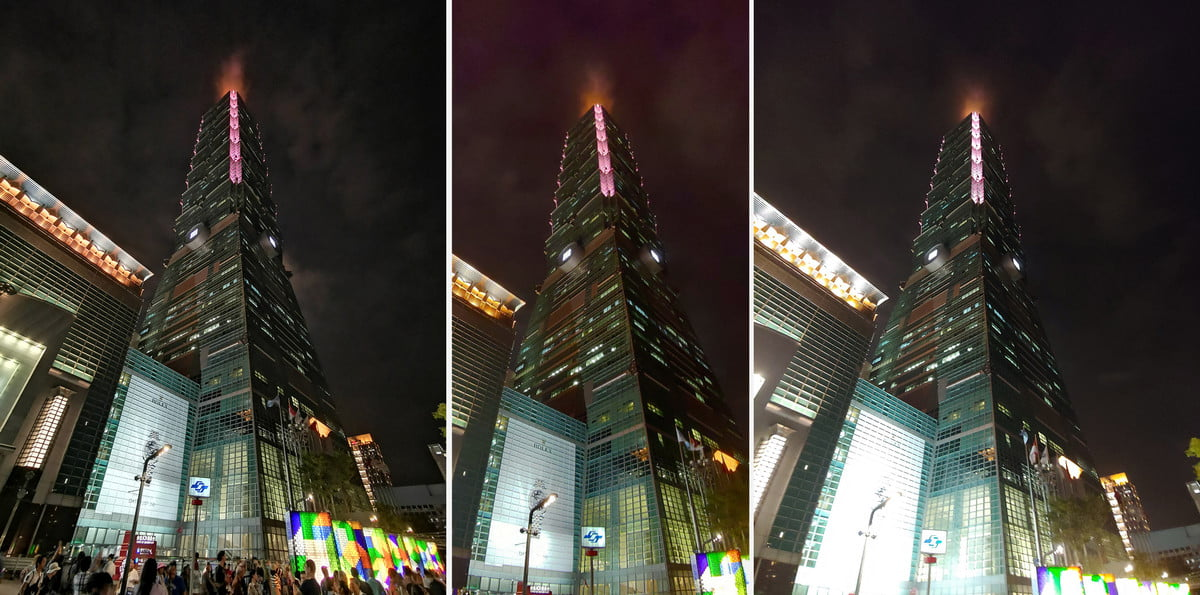 huawei mate 20 pro vs lg g7 asus rog phone camera shootout wide angle taipei 101 composite