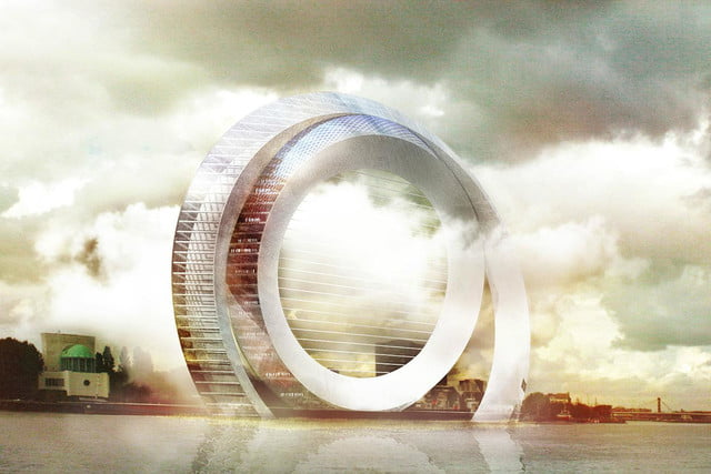 the windwheel is a silent turbine with apartments and great views day