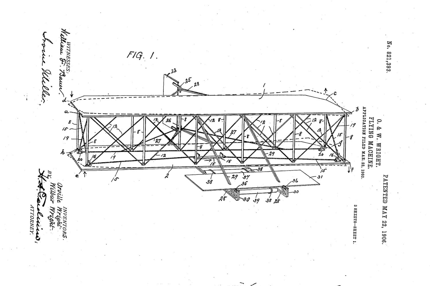 Wright Brothers Flight within the wright brothers' original 'flying machine' patent has been found